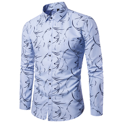 High Quality Spring Autumn Men's Slim Fit Printed Long-sleeved Shirts light blue 3xl