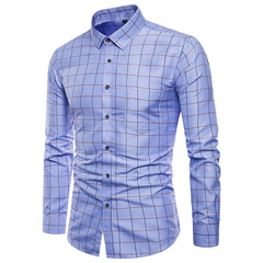 High Quality Spring Autumn Men's Slim Fit Long-sleeved Shirts grey 3xl