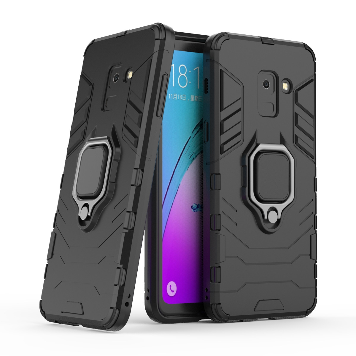 new product f10e7 e16fe Shinwo Samsung Galaxy A8 2018 Case Rugged Armor [Drop-protection] with Car  Magnetic Ring Holder black for Samsung Galaxy A8 2018