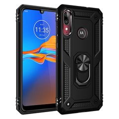 Phone Case for Motorola Moto E6 Plus Casing [Drop-protection] with Car Magnetic Ring Holder black for Motorola Moto E6 Plus