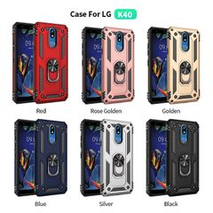 Phone Case for LG K40 Casing [Drop-protection] with Car Magnetic Ring Holder black for LG K40