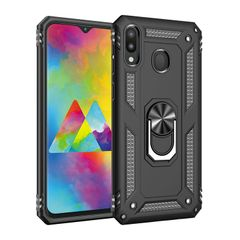 Phone Case for Samsung Galaxy M20 Casing [Drop-protection] with Car Magnetic Ring Holder black for Samsung Galaxy M20