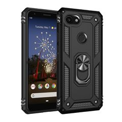 Case for Google Pixel 3A Google Pixel 3A XL Casing [Drop-protection] with Car Magnetic Ring Holder black for Google Pixel 3A