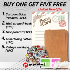 MCDFL Gift Set ( 3 Random Cartoon Sticker+1 Hook+1 Postcard+1 Wipes+1 Envelope )