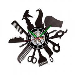 MCDFL 12 Inch Hair Comb Vinyl Wall Clock Women Hair Wigs Beauty Salon Wall Decor Valentines Gift
