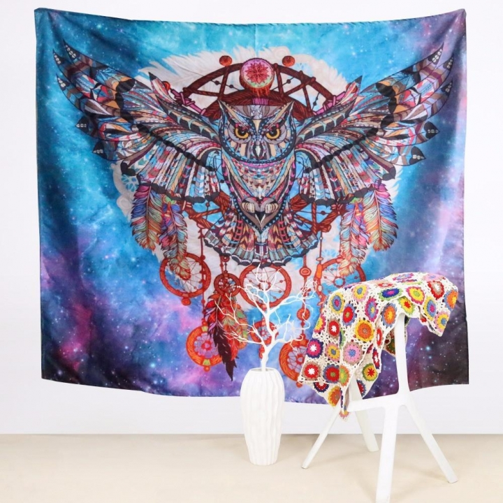 MCDFL Fancy Owl Dream Catcher Tapestry Wall Hanging Home Decor Summer Beach Towels Hippie Tapestry As Picture 130cm*150cm