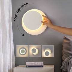 MCDFL Modern Warm White Led Wall Light Rotating Led Lights Bedroom Living Room Lamp Indoor Lighting Matte White - Round As picture As picture