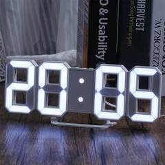 MCDFL LED Digital Numbers Wall Clock with 3 Levels Brightness Alarm Clock Snooze Clock Table clocks White As picture