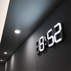 MCDFL LED Digital Numbers Wall Clock with 3 Levels Brightness Alarm Clock Snooze Clock Table clocks Black As picture