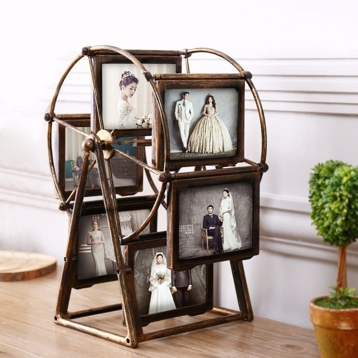 MCDFL Retro Family Photo Frame Composition Rotatable Windmill Ferris Wheel Picture Frame Home Decor Copper As picture