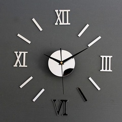 MCDFL 3D DIY Wall Clock Roman Numbers Acrylic Mirror Wall Art Clock Living Room Bedroom Home Decor Silver About 60*40cm