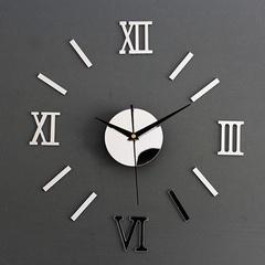 MCDFL 3D DIY Wall Clock Roman Numbers Acrylic Mirror Wall Art Clock Living Room Bedroom Home Decor Gold About 60*40cm