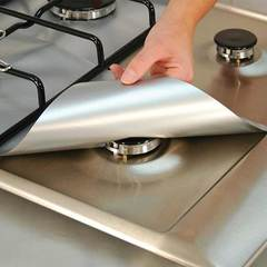MCDFL Reusable Gas Range Stovetop Burner Protector  Burner Cover Gas Stove Protector Kitchen Tools Silver 4 Pcs