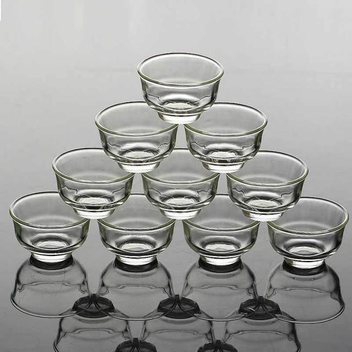 MCDFL Elegant Clear Tea Cups Heat Resistant Water Drinking Cup Coffee Cup Milk Breakfast Glass Cup 6 Pcs 40ml