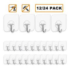 MCDFL Strong Adhesive Sticker Hooks Kitchen Wall Hook 13lb(Max) Reusable Waterproof Bathroom Hooks 12 Pcs/Set