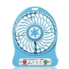 MCDFL Portable Rechargeable LED Light Summer Mini Fan 3 Mode Speed USB Fan Air Cooler Table Desk Fan Blue