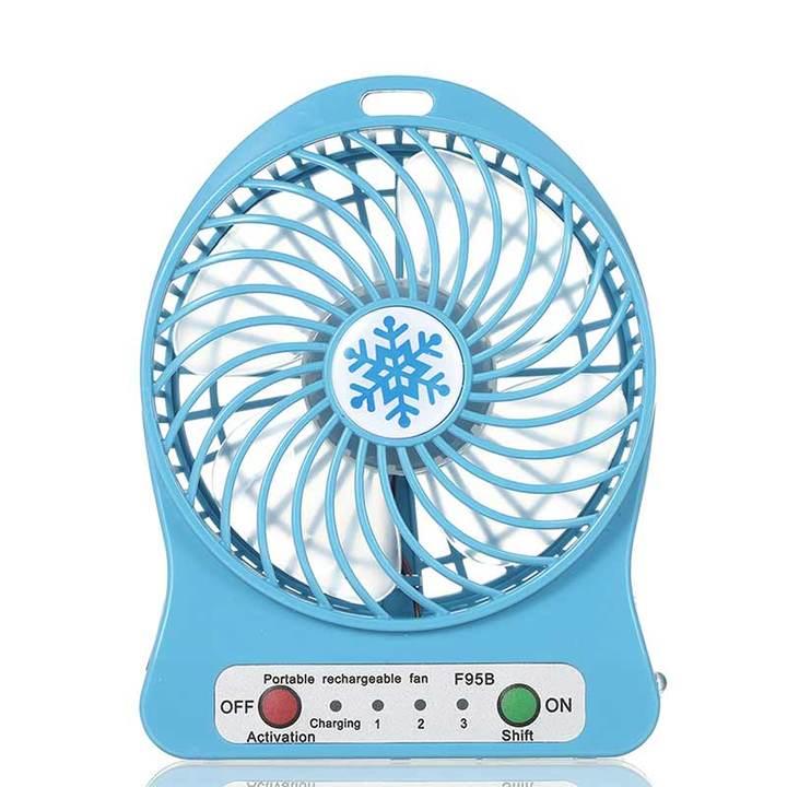 MCDFL Portable Rechargeable LED Light Summer Mini Fan 3 Mode Speed USB Fan Air Cooler Table Desk Fan Blue