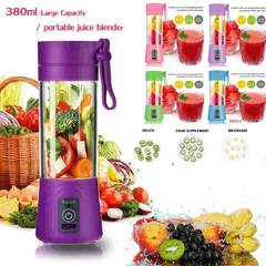 MCDFL 380ml Multipurpose Portable Blender Mixer USB Rechargeable Juice Machine Egg Whisk Food Cutter Purple