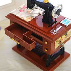 MCDFL Retro Simulation Sewing Machine Music Box Clockwork Musical Toy Birthday Gift Idea Table Decor As picture One size