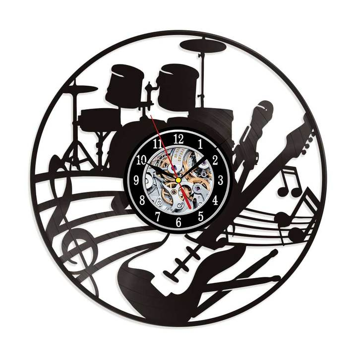 "Musical Instruments Guitar Vinyl Record Wall Clock 12"" (30 cm) Drum Kit Wall Art Music Studio Decor"