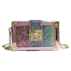 Fashion Shoulder Chain Purse Small Glitter Handbag Bags for Women pink one size