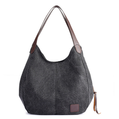 Fashion Women's Multi-pocket Cotton Canvas Handbags Shoulder Bags Tote Purses black one size
