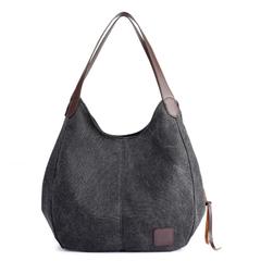 Fashion Women's Multi-pocket Cotton Canvas Handbags Shoulder Bags Tote Purses black one size
