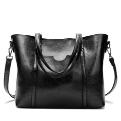 Women's Soft Leather Handbag Big Capacity Tote Shoulder Crossbody Bag Bags black one size