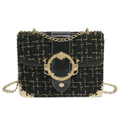 Tweed Crossbody Handbag Shoulder Bag Purse with Metal Chain Strap for Women black one size