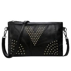 Women Leather Envelope Clutches Rivet Crossbody Purse Shoulder Bag Handbag black one size