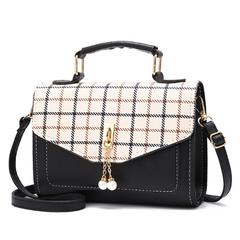Grid PU Leather Handbag Shoulder Bag Crossbooy Purse Pearl Bags for Women black one size