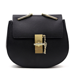 Women Cross body Bag Saddle Shoulder Bags Small Purse Handbags with Chain black one size