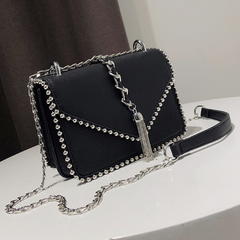 Ladies Rivets Shoulder Handbag Crossbody Bag Purse Chain Bags with Tassel black one size