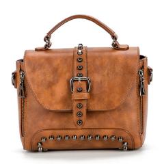 Ladies Designer Satchel Tote Bag Shoulder Bags Big Capacity Handbag with Rivets brown one size