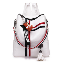 Lightweight Backpack School Shoulder Bag Waterproof Travel Bag with Cute Bear Pendant white one size