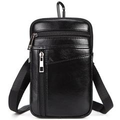 Genuine Leather Belt Clip Pouch Crossbody Bag Messenger Shoulder Waist Bag Pack black one size