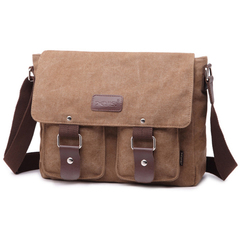 Vintage Mens Canvas Messenger Bag Shoulder Laptop Bags School Satchel Work Briefcase brown one size