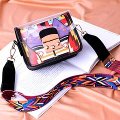 Ladies Transparent PVC Plastic + PU Leather Summer Shoulder Bag Cross Handbag black one size