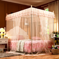 Mosquito Net for Bed Canopy-Lace 4 Corner Square Princess Fly Screen with Metal Brackets purple 6x6--1.8m