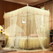 Mosquito Net for Bed Canopy-Lace 4 Corner Square Princess Fly Screen with Metal Brackets beige 4x6--1.2m