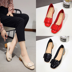 Office Ladies Square Buckle Low Heel Shoes Pointed Single Shoes Women Block Pumps Shoes red 35