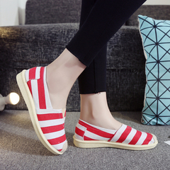 Ladies Classic Stripes Canvas Slip On Shoe Casual Comfort Sneakers Loafers Flats Shoes red 35