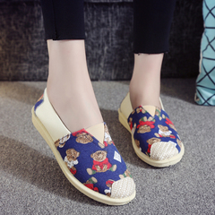 Ladies Cute Bear Canvas Slip On Shoe Casual Comfort Sneakers Loafers Flats Shoes blue 40