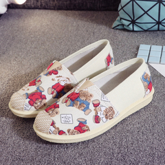 Ladies Cute Bear Canvas Slip On Shoe Casual Comfort Sneakers Loafers Flats Shoes red 35