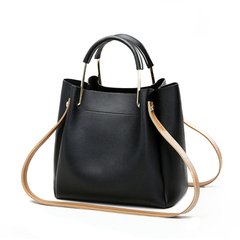 Big Capacity PU Leather Bucket Bag Handbag Shoulder Bags Cross Body Purse Tote Handbags black one size