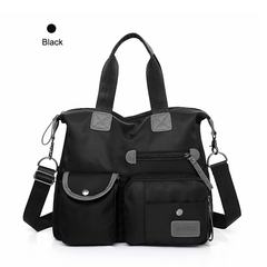 Women's Multi Pocket Shoulder Bags Casual Handbag Travel Bag Cross Body Waterproof Nylon Bags black one size