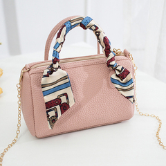 Ladies Mini Top Handle Barrel Shoulder Bag Boston Style Bags Satchel Handbag with Silk Scarf pink one size