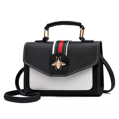 Fashion Bee PU Leather Briefcase Tote Messenger Bag Satchel Cross Body Bags Shoulder Handbag black one size