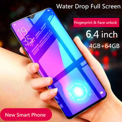 New Mobile phone X23 6.4 inch fingerprint&fack unlock 5800mAh 8MP+13MP Smartphone black 4+64g