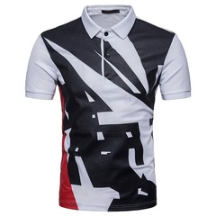 Summer eurocode men's geometric pattern cotton printing vertical tie button short sleeve T-shirt POLO